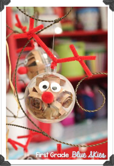 christmas ornaments with photos for third grade crafts in the classroom reindeer ornaments grade blue skies