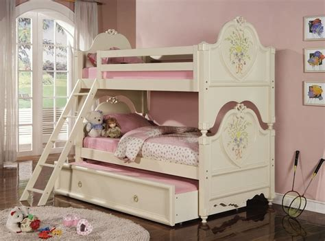 girls cream bedroom furniture twin over twin elegant doll house cream bunk bed with trundle