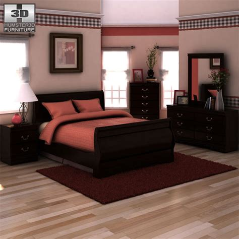 huey vineyard sleigh bedroom set ashley huey vineyard sleigh bedroom set 3d model humster3d
