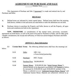 purchase and sale agreement template free sle purchase and sale agreement 12 free documents in