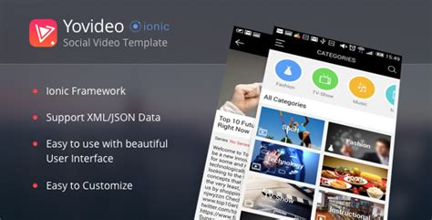 yovideo social network of video ionic html5 hybrid app