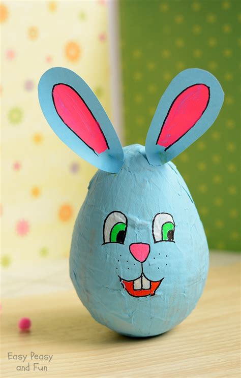 How To Make Paper Mache Crafts - wobbling papier mache bunny easter crafts for
