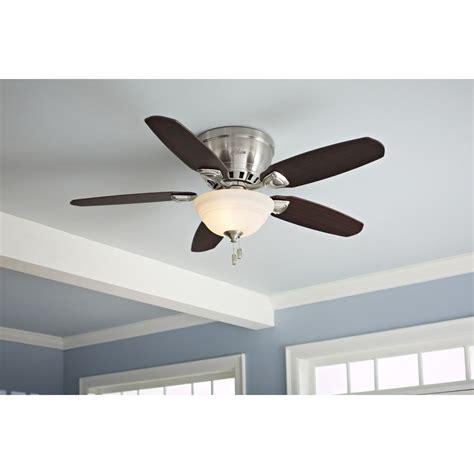 hunter louden ceiling fan shop hunter louden 46 in brushed nickel flush mount indoor