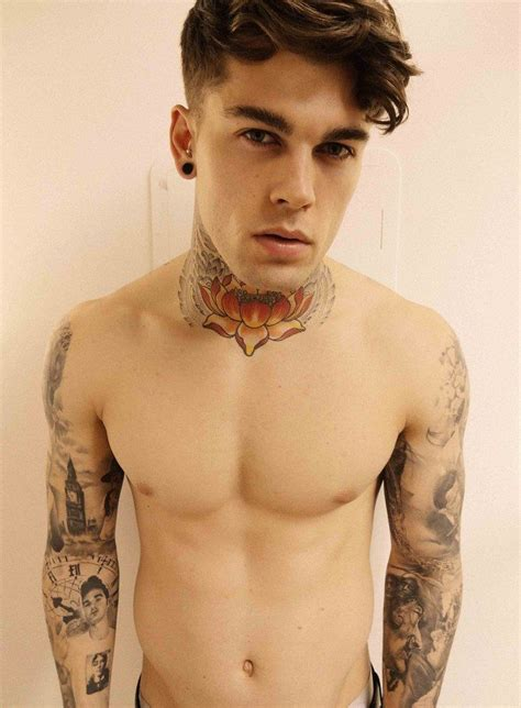 model with tattoos eye stephen lotus abs handsome