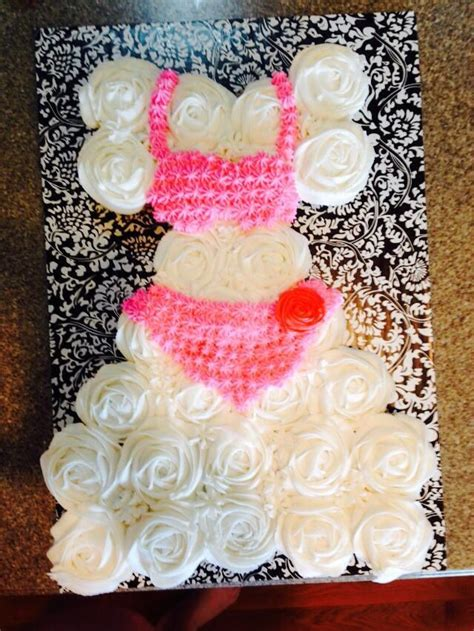 cupcake cakes for wedding shower 17 best images about bridal shower wedding dress cupcake cake on swim dress