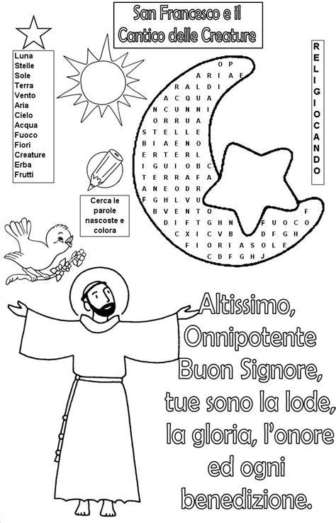 cantico delle creature testo italiano per bambini disegni di san francesco d assisi da colorare ae36