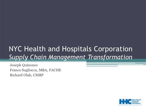 Mba Healthcare Administration Nyc by New York City Health Hospitals Corporation