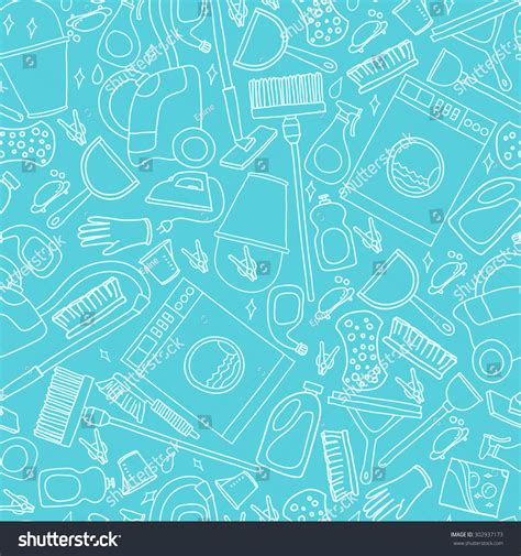 image pattern service vector doodle pattern cleaning tools cleaning stock vector