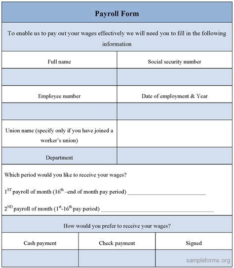 blank payroll form blank payroll form sle forms