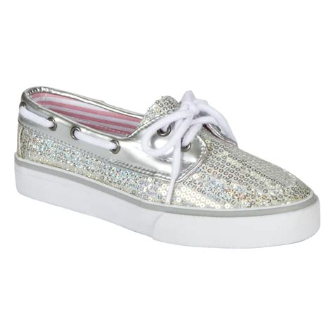 expressions girl s anchor glitter boat shoe silver - Boat Anchor Expression