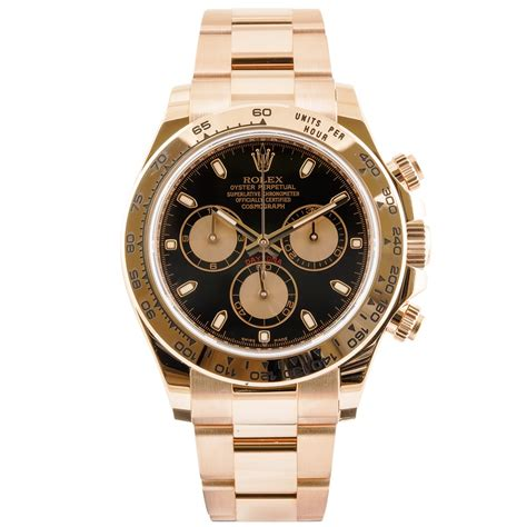pre owned rolex daytona 18ct gold black