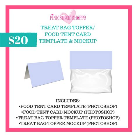 photoshop tent card template pink sugar shoppe treat bag topper food tent template