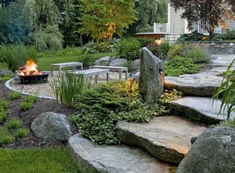 flatten backyard landscaping with extra large flat stone steps