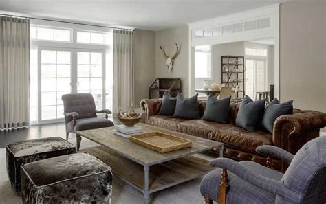 brown chesterfield sofa in living room modern country living room features a brown