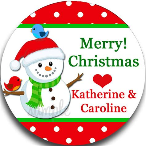 personalized snowman christmas gift tags printed or
