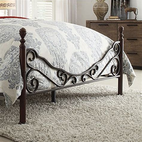 Leann Graceful Scroll Bronze Iron Bed Frame Twin Iron Scroll Bed Frame