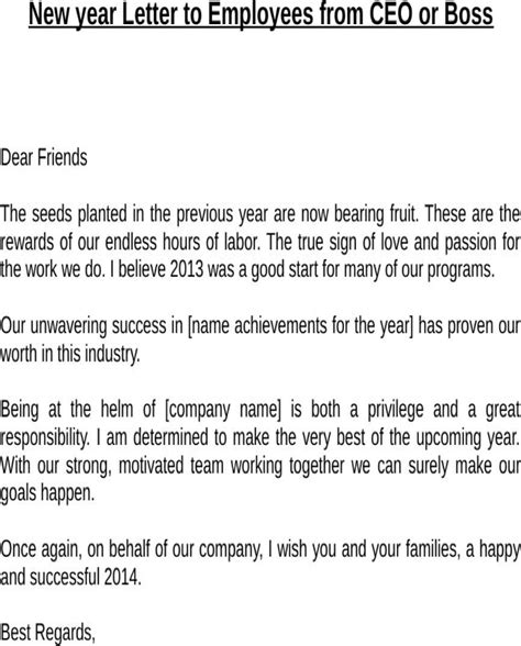 New Financial Year Letter To Employees new year letter to employees from ceo or for
