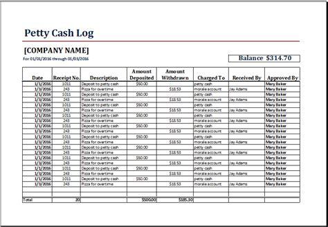 petty cash log templates excel templates