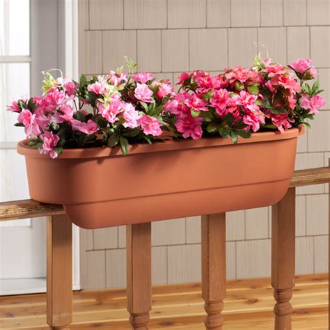 banister planters deck railing planter large rectangle railing planter