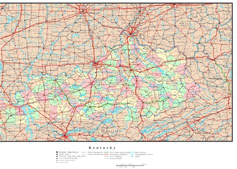 kentucky map counties roads kentucky political map