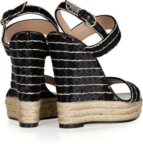 Sequined Wedge Sandal by Valentino Sequined Espadrille Wedge Sandals In Black Lyst