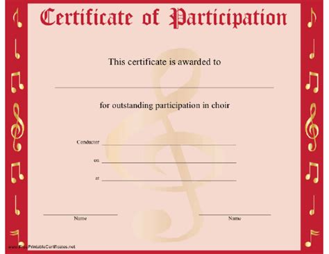 template for certificate of participation certificate templates free sle templates