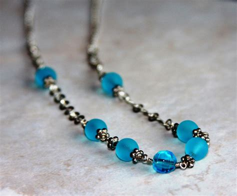 light blue beaded necklace light blue beaded wire wrapped silver chain necklace on luulla