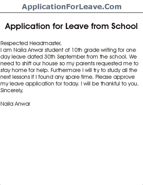 School Application Letter From Parents Application For Leave From School