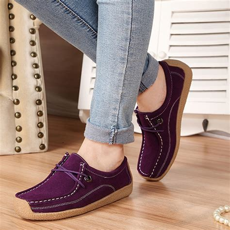 Flatshoes Poxing Blue Varian casual soft suede comfortable lace up toe flat loafers shoes alex nld