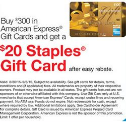American Express Gift Card Staples - staples american express gift card rebate 20 bonus promotion