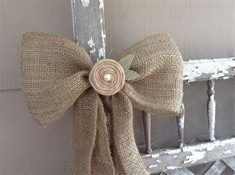country curtain tie backs burlap bow rustic country barn wedding pew bow burlap