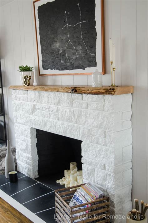 remodelaholic diy fireplace update with live edge