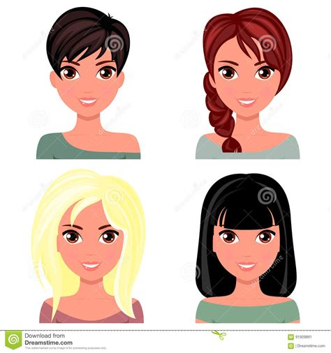 hairstyles cartoon hairstyles cartoon woman beautiful face with different