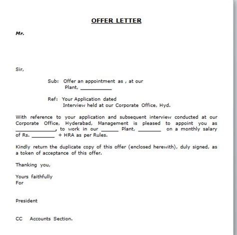 simple appointment letter exles sle offer acceptance letter application cover