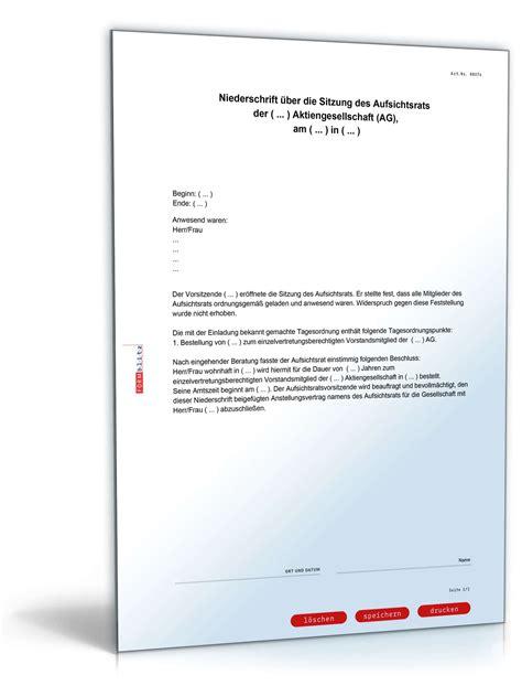 Bestellung Musterbrief Vorlage Bestellung Vorstand Aktiengesellschaft Muster Zum