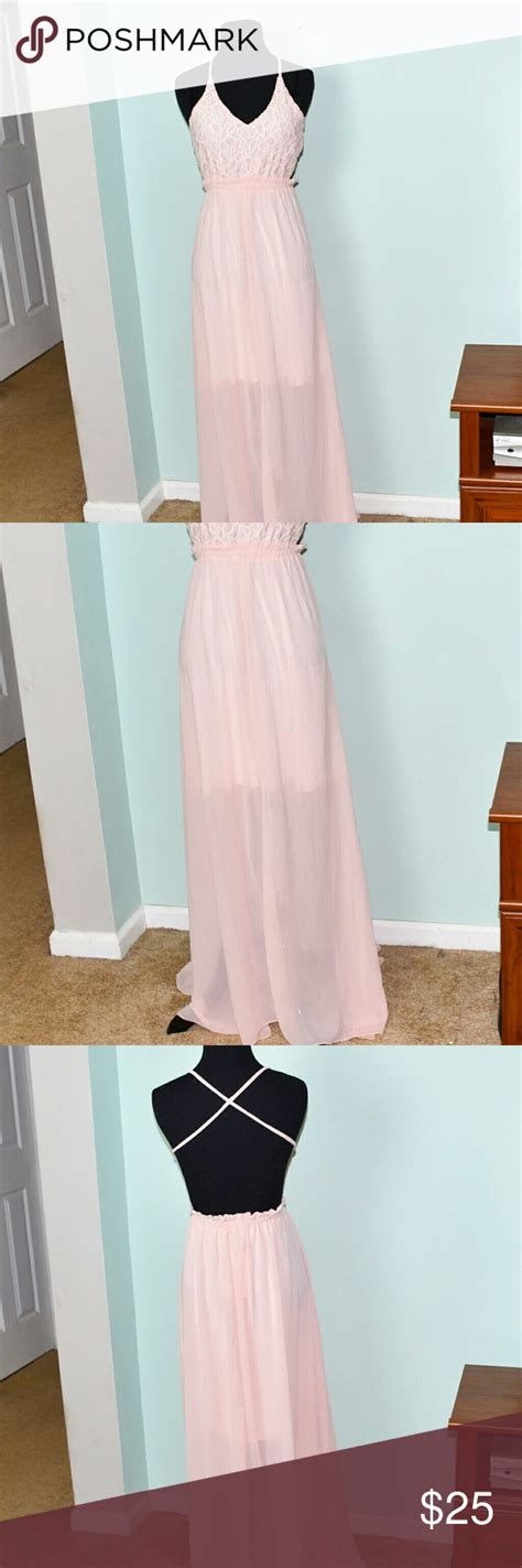 blush colored maxi dress nwt blush colored flowy lace maxi dress nwt