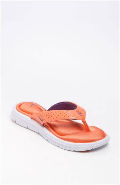 nike comfort sandal nike comfort sandal in orange melon crush white lyst