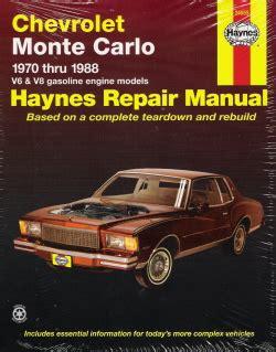 car engine repair manual 2001 chevrolet monte carlo instrument cluster 1970 1988 chevrolet monte carlo haynes repair manual