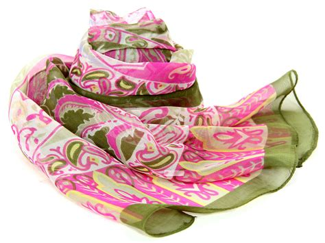 s green with pink printed scarf in green pink 20 x