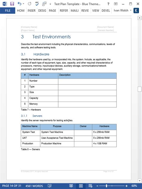 test plan template word test plan ms word excel template
