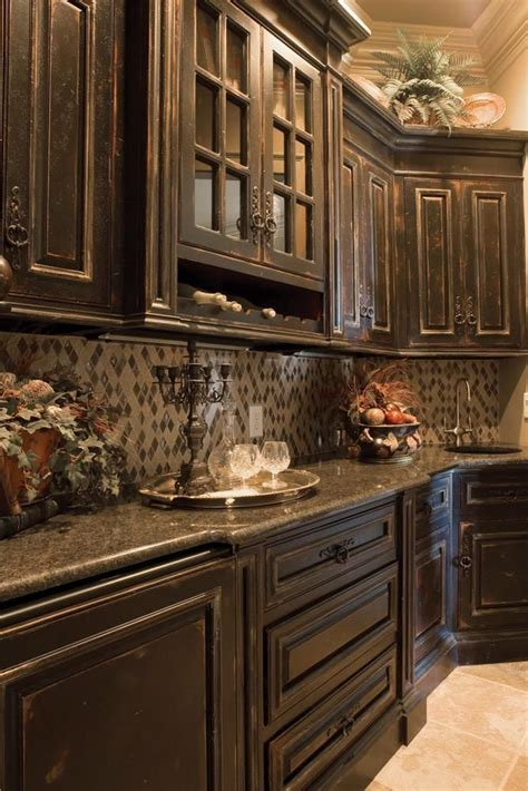dark colored cabinets in kitchen best 20 distressed kitchen cabinets ideas on pinterest