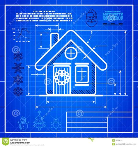 blueprint house christmas house icon like blueprint drawing stock vector