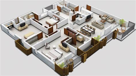 floor plan in 3d 25 three bedroom house apartment floor plans