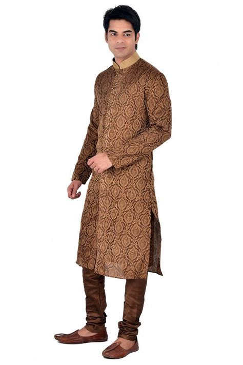 pattern kurta pajama buy brown self design jacquard kurta payjama online