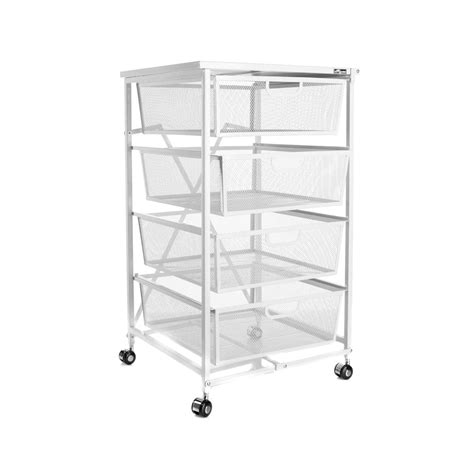Origami Kitchen Cart - origami 4 drawer kitchen cart with wood shelf white new ebay