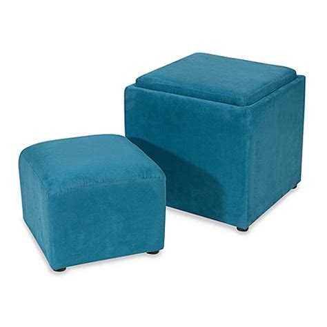Faux Suede Storage Ottoman Bogo Teal Faux Suede Storage Ottoman Bed Bath Beyond