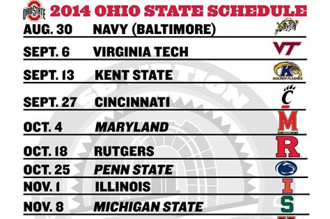 printable schedule ohio state football 2015 printable ohio state football schedule 2014 land grant