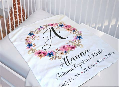 Blanket With Baby Name by Baby Monogrammed Blanket Baby Name Blanket By Soulstudioprints