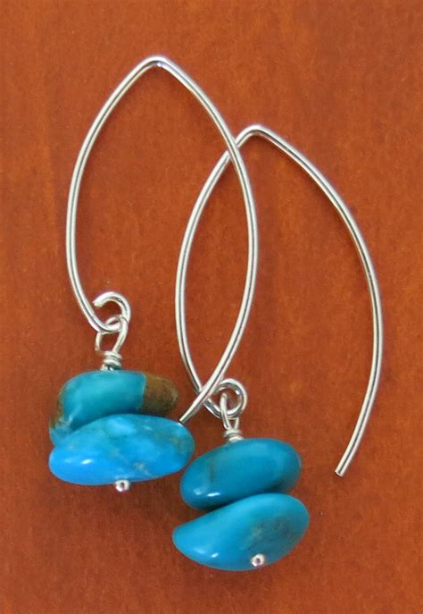 Handmade Turquoise Earrings - handmade nevada blue turquoise earrings handmade jewelry