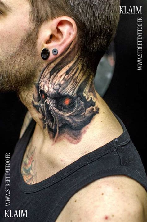 skull neck tattoos best 25 throat ideas on moth